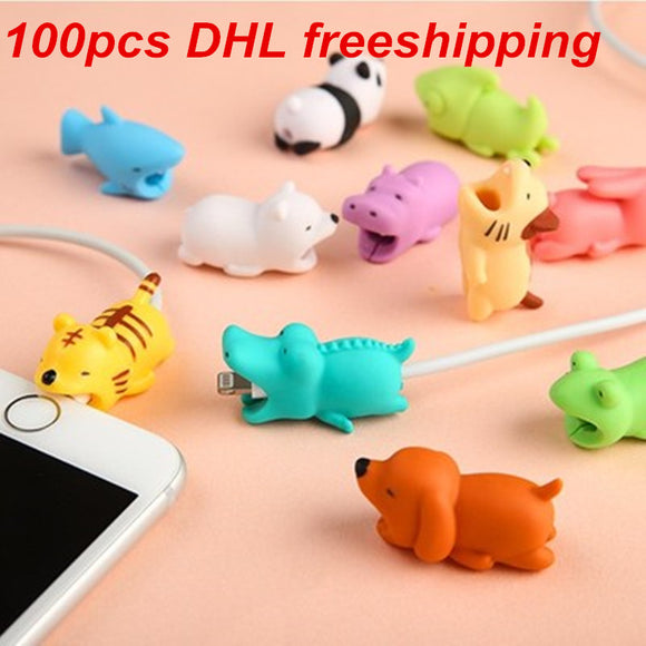 1 pcs Cable Bite Protector for Iphone cable Winder Phone holder Accessory chompers rabbit dog cat Animal doll model funny - Xtrem Shopping
