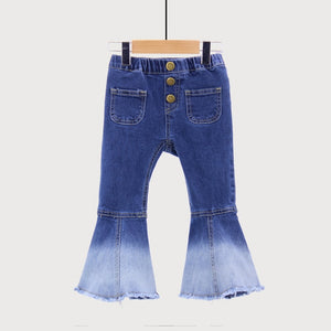 Welaken Bigger Size New Kids Vintage Jeans Girls Jeans Bell Bottoms Childrens Pants Autumn Outwear