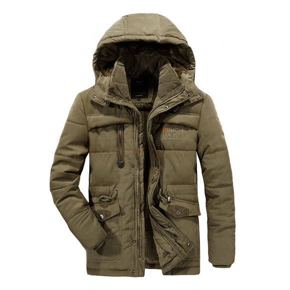 YIHUAHOO Men Winter Jacket 6XL 7XL 8XL Thick Warm Parka Fleece Fur Hooded Military Jacket Coat Pockets Windbreaker Jacket Men - Xtrem Shopping