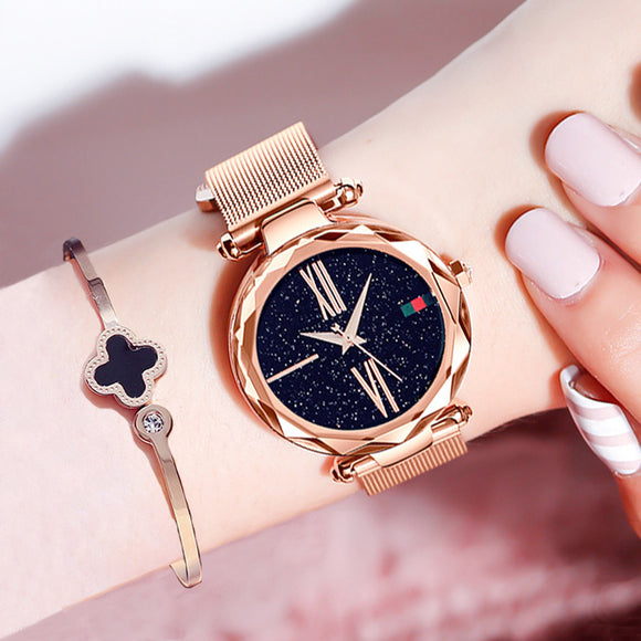 Luxury Rose Gold Women Watches Minimalism Starry sky Magnet Buckle Fashion Casual Female Wristwatch Waterproof Roman Numeral - Xtrem Shopping