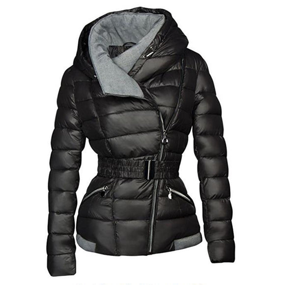 2018 Winter Coats Women Parkas Cotton Warm Thick Short Jacket Coat with Belt Slim Casual zipper Gothic Black Outerwear Overcoats - Xtrem Shopping