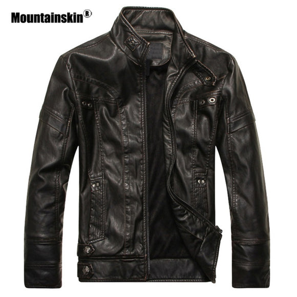 Mountainskin New Men's Leather Jackets Motorcycle PU Jacket Male Autumn Casual Leather Coats Slim Fit Mens Brand Clothing SA588 - Xtrem Shopping