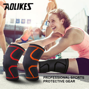 1pair Fitness Elastic Nylon Compression Basketball KneePad Running Cycling Knee Support Sports Braces Sleeve Volleyball Protect - Xtrem Shopping