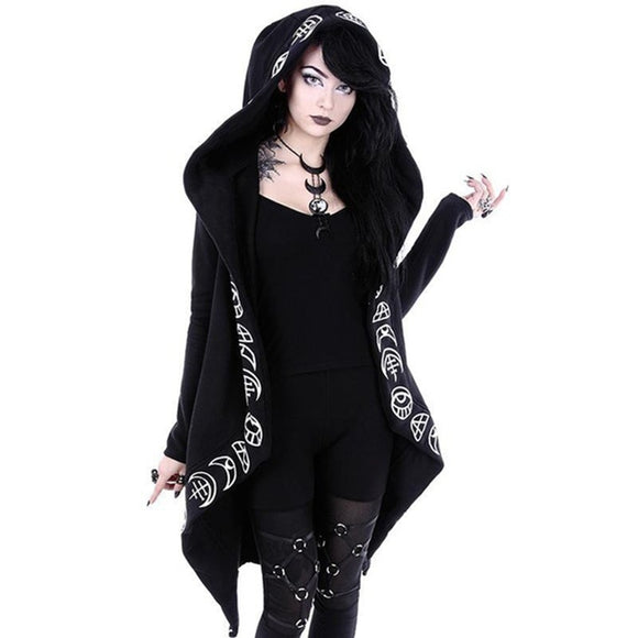 2018 Fall Gothic Casual Cool Chic Black Plus Size Women Sweatshirts Loose Cotton Hooded Plain Print Female Punk Hoodies - Xtrem Shopping