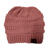 Ponytail Beanie Hat Winter Skullies Beanies Warm Caps Female Knitted Stylish Hats For Ladies Fashion - Dark Pink
