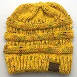 Ponytail Beanie Hat Winter Skullies Beanies Warm Caps Female Knitted Stylish Hats For Ladies Fashion - Confetti Yellow