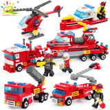 348pcs Fire Fighting 4in1 Trucks Car Helicopter Boat Building Blocks Compatible legoing city Firefighter figures children Toys - Xtrem Shopping