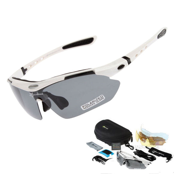 Rockbros Polarized Cycling Sun Glasses Outdoor Sports Bicycle Glasses Men Women Bike Sunglasses 29G Goggles Eyewear 5 Lens - White