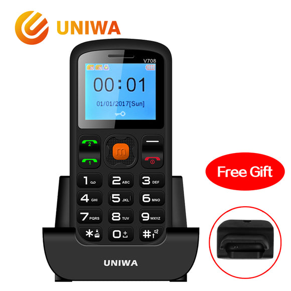 Uniwa V708 Old Man Mobile Phone Charging Cradle Senior Kids Feature Phone GSM FM Radio Big SOS Button Russian Keyboard Cellphone