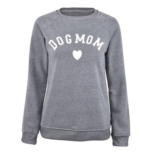 Dog Mom Long Sleeve Casual Sweatshirt Women's Print Fashionable Heart-shaped Print Kawaii Sweatshirt  Printing Pattern - Xtrem Shopping