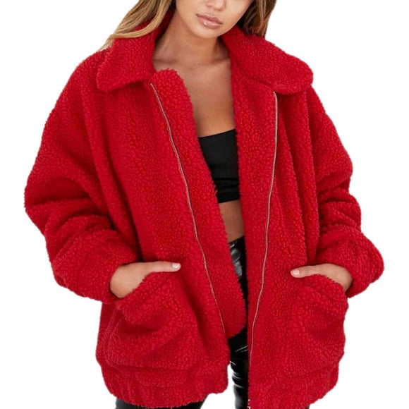 Fashion Lapel Sweatshirt Fleece Fur Coat 2018 Women Autumn Winter Warm Soft Jacket Thick Plush Zipper Overcoat Short Outerwear - Xtrem Shopping