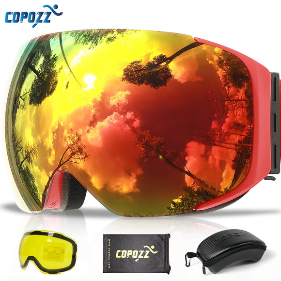 COPOZZ Magnetic Ski Goggles with Quick-change Lens and Case Set 100% UV400 Protection Anti-fog Snowboard Goggles for Men & Women - Xtrem Shopping