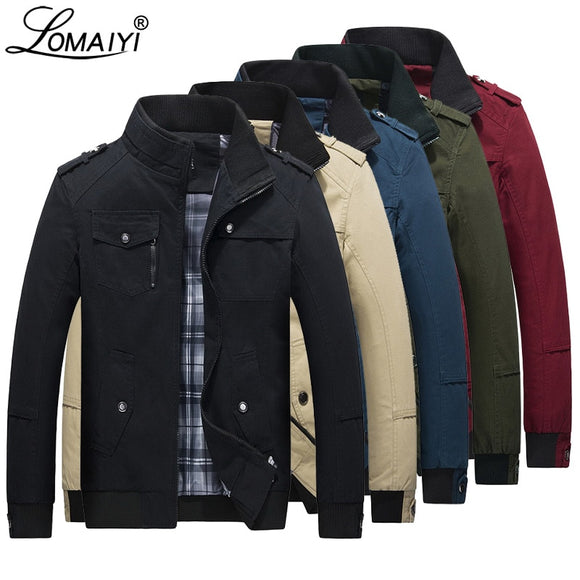 LOMAIYI Men's Spring Autumn Jacket Men Pure Cotton Red/Black Casual Jacket Mens Bomber Jackets And Coats Male Windbreaker BM056 - Xtrem Shopping