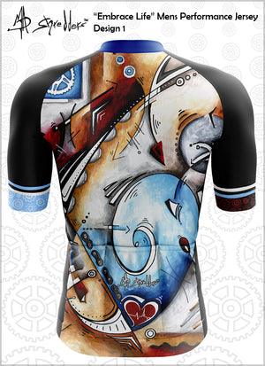 "CLOSEOUT! Limited stock available ""Embrace Life"" Mens Cycling Jersey Design 1 Performance Fit MAD Shredders™"