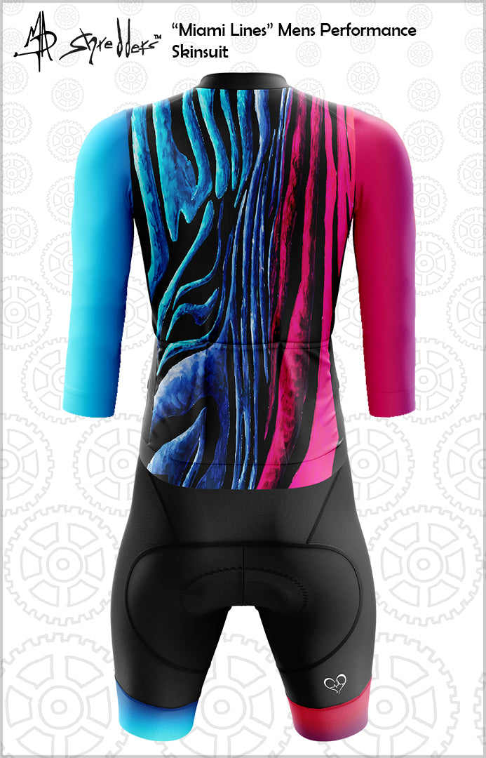 "CLOSEOUT! Limited stock available ""Miami Lines"" Mens Long Sleeve Cycling Skinsuit Performance Fit MAD Shredders™"
