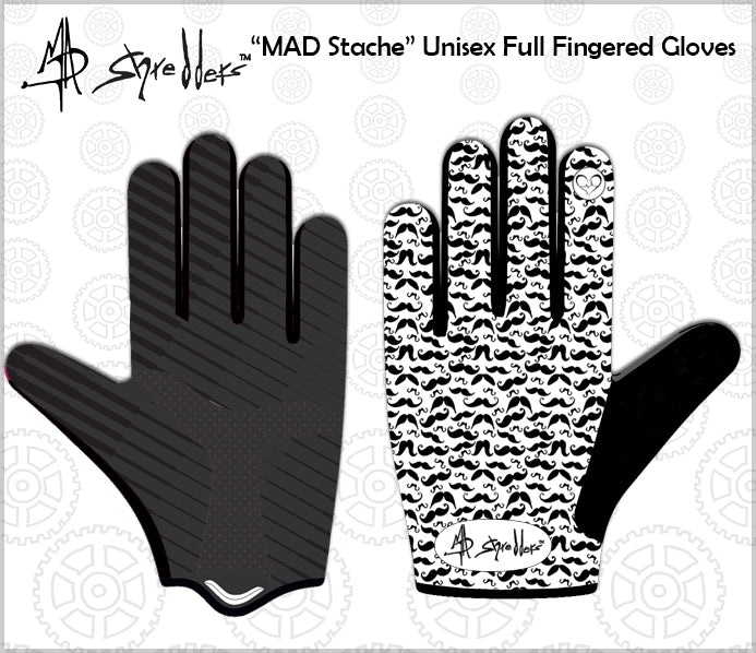 """MAD Stache"" Unisex Full Fingered Lighweight Gloves for Ultimate Performance and Fit"
