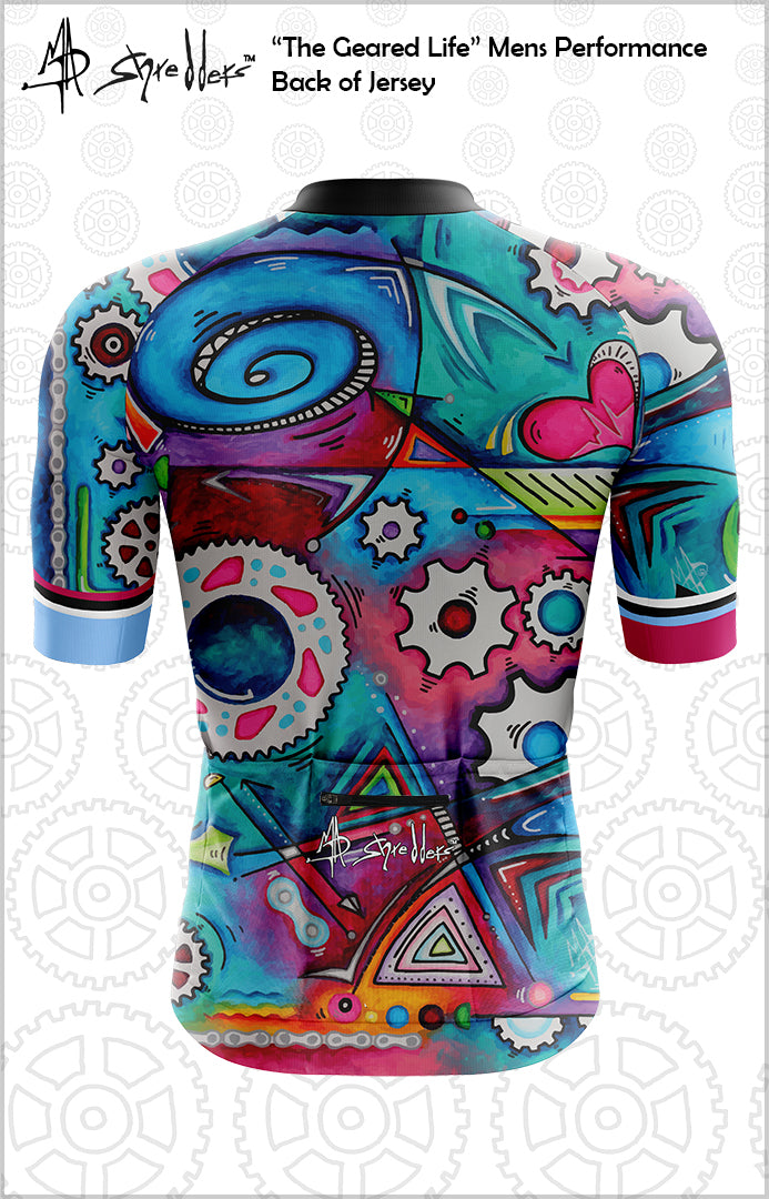 "CLOSEOUT! Limited stock available ""The Geared Life"" Mens Cycling Jersey Performance Fit MAD Shredders™"