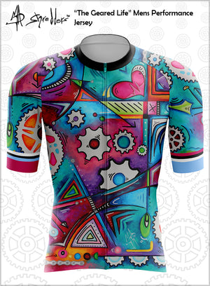 """The Geared Life"" Mens Cycling Jersey Performance Fit MAD Shredders™"