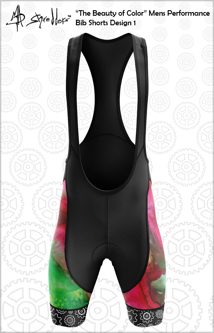"""The Beauty of Color"" Design 1 Mens Cycling Bib Shorts Performance Fit MAD Shredders™"