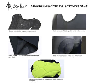 """MAD Stache"" Womens Cycling Bib Shorts Performance Fit MAD Shredders™"