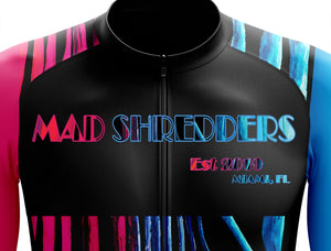 "CLOSEOUT! Limited stock available (1 medium) ""Miami Lines"" Mens Long Sleeve Cycling Skinsuit Performance Fit MAD Shredders™"