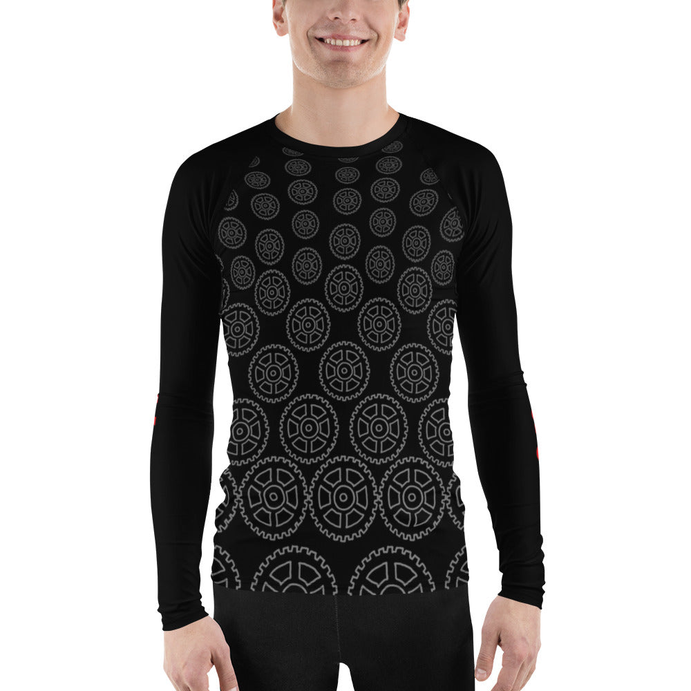 """Geared"" Mens Athletic Long Sleeve Jersey Shirt in Black"