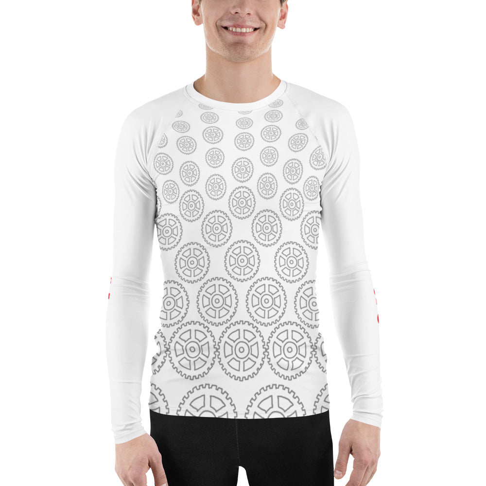 """Geared"" Mens Athletic Long Sleeve Jersey Shirt in White"