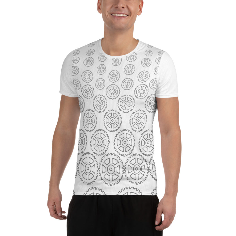 """Geared"" All-Over Print Men's Athletic Jersey Shirt"