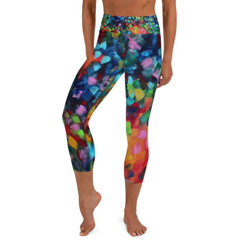 Color Blast Abstract Art - Yoga Capri Leggings