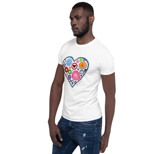 Bike Gears Heart Chain Design Short-Sleeve Unisex Gildan T-Shirt Biking Cycling Art Design Megan Duncanson MAD Shredders