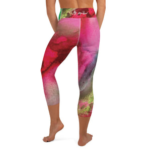 The Beauty of Color Pink and Green - Yoga Capri Leggings