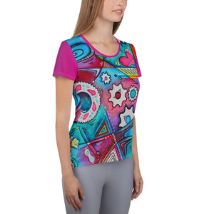 """The Geared Life"" All-Over Print Women's Athletic Jersey Shirt"