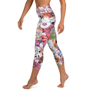 Multi Spring Time Floral Pattern - Yoga Capri Leggings