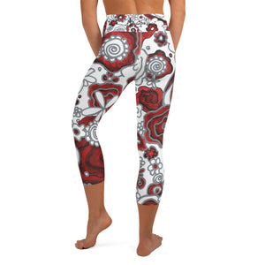 Frida floral pattern 1 - Yoga Capri Leggings