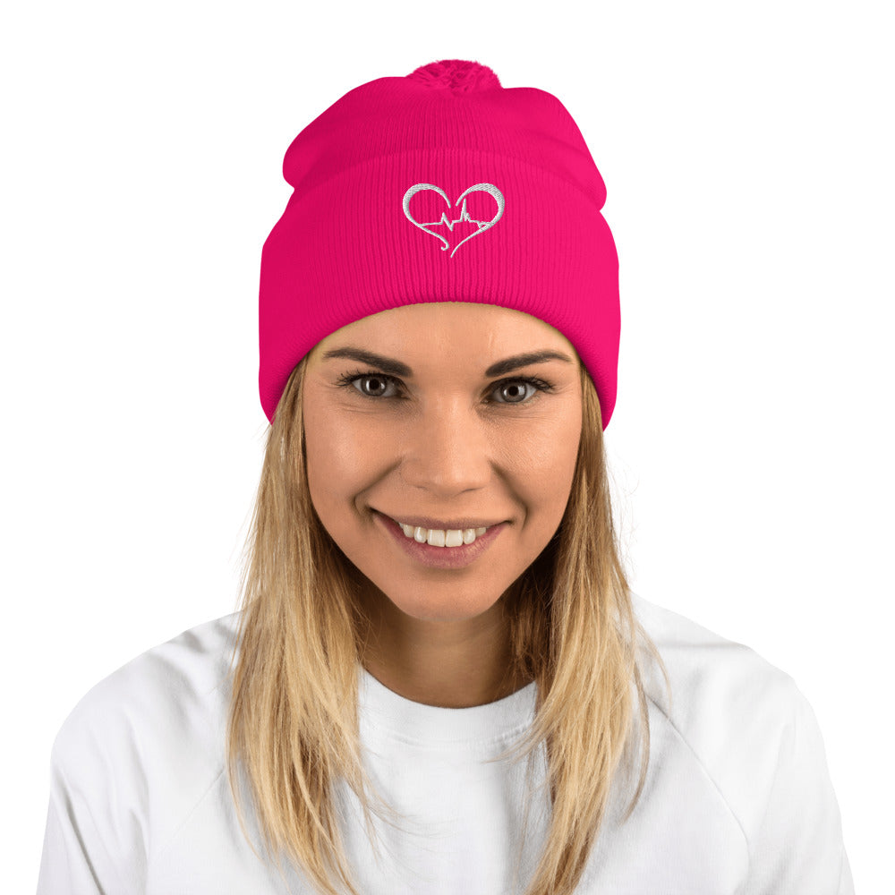Unisex Pom-Pom Beanie MAD Shredders Heart Logo in Multiple Colors