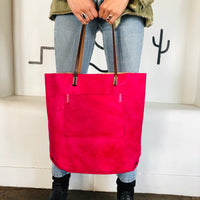 Large Fuchsia Leather Tote
