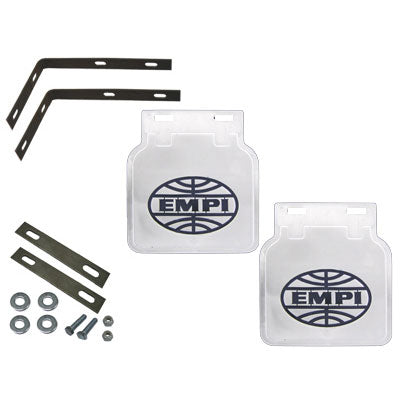 EMPI Mud Flaps, White w/Black, Type 2