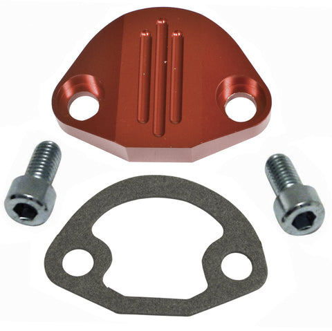 EMPI 1093 Billet Fuel Pump Block-Off with Hardware, Red