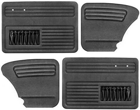 Empi 4852 Black Vinyl VW Beetle Door Panels W/ Pockets 1958-1964, Set Of 4