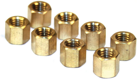 EMPI 6051 BRASS EXHAUST NUTS, M8-1.25, 11mm Head, Set Of 8