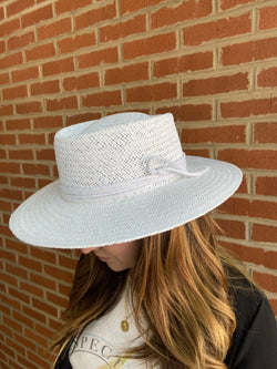 White boater hat