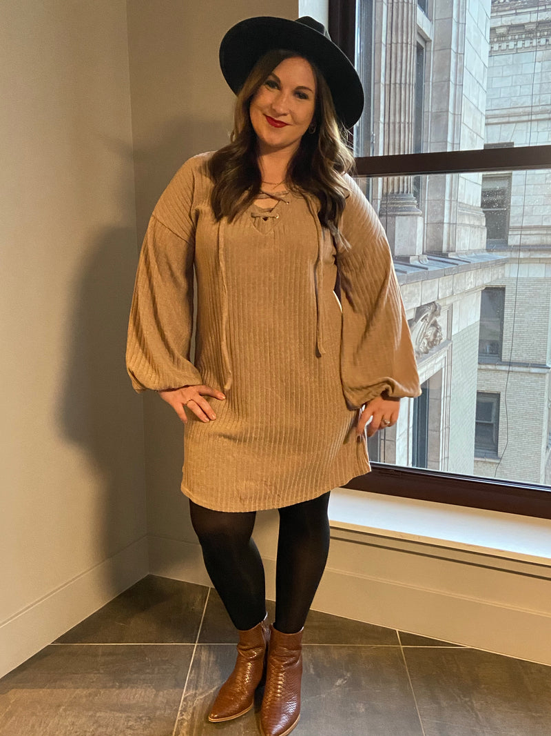 Taupe Sweater Dress with Lace Detail