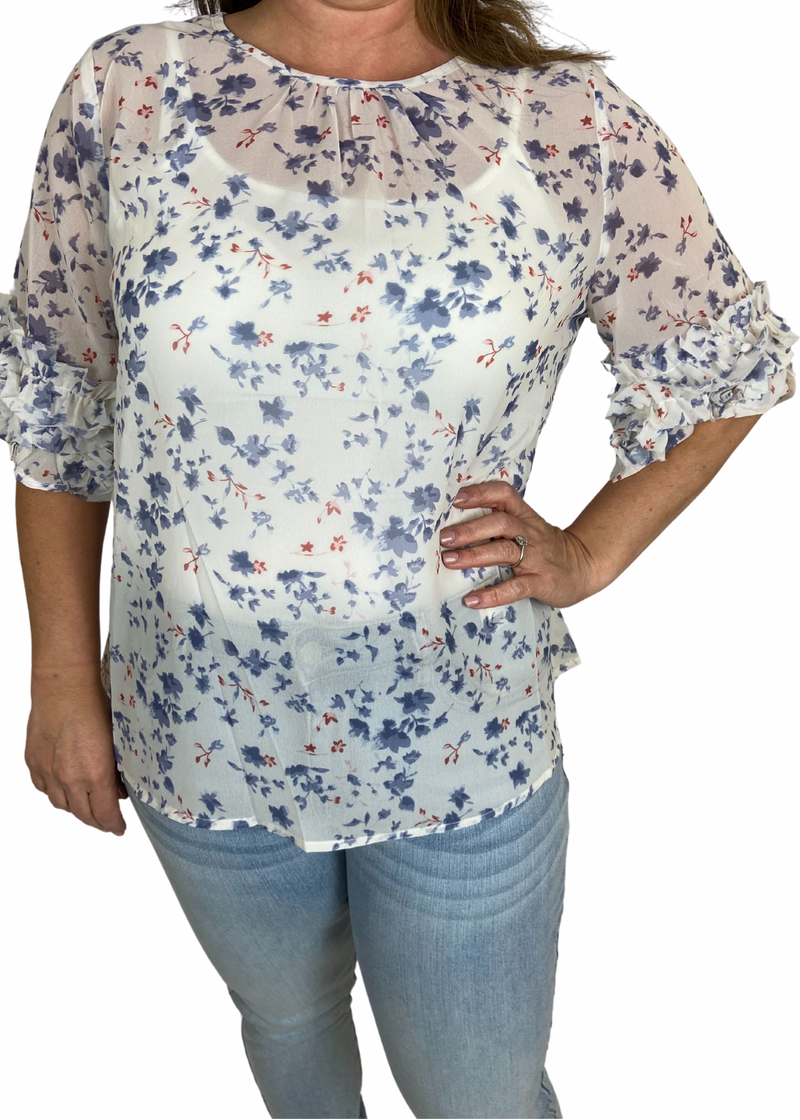 Floral top with ruffled short sleeve