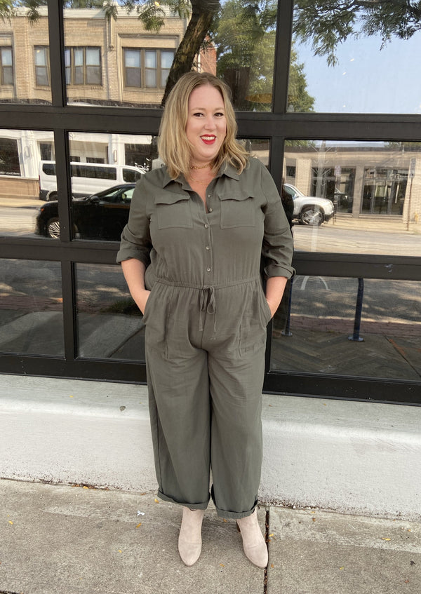 Green utility Jumpsuit