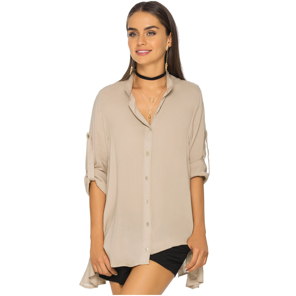 PHAX COLOMBIAN SWIMWEAR | BUTTON DOWN ROLL-UP SLEEVE FLOWY FLARE SHIRT