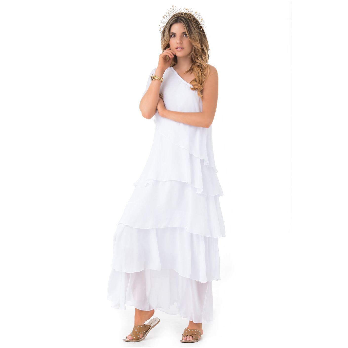 PHAX COLOMBIAN SWIMWEAR ASIMMETRICAL LAYERED LONG MAXI SUMMER DRESS