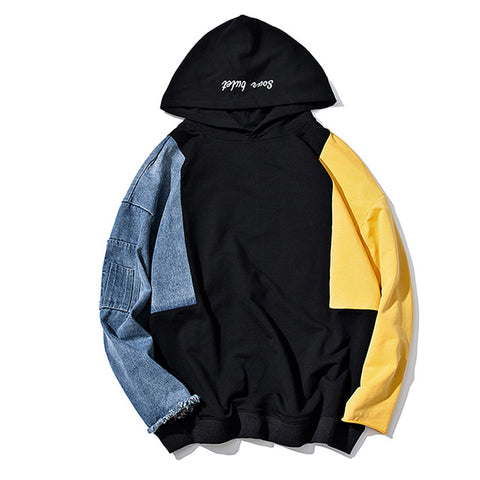 Vintage Patch Pullover | Blue, Black & Yellow | Hoodie