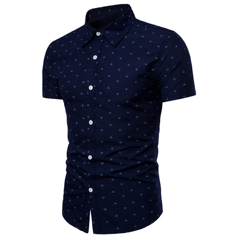 Anchor Print | Slim Fit | Short Sleeve Shirt