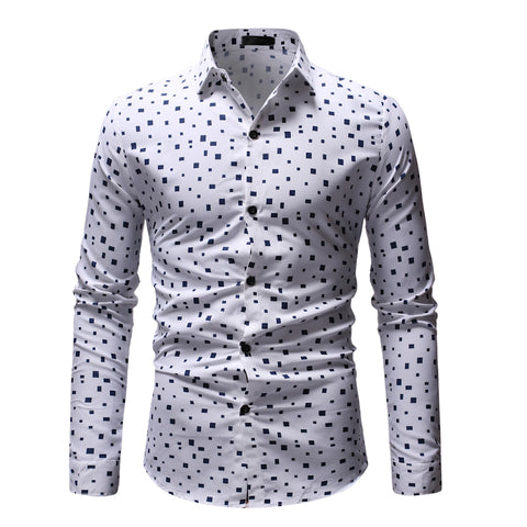 Square Pattern | Slim Fit | Long Sleeve Shirt