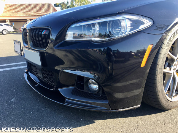 black f10 bmw 5 series with performance front lip in carbon fiber